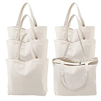 Canvas Tote Bag with Zipper 6 Packs Segarty 16x15 inch Bags with Handle Reusable Washable Grocery Shopping Bags Plain Bags for Women Teacher Kids DIY Art Crafts Painting Embroidery Decoration