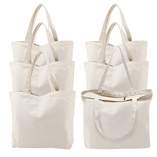 Canvas Tote Bag with Zipper, 6 Pcs Segarty 16x15 inch Cotton Bags with Handle Reusable Washable Grocery Shopping Bags Plain Bags for Women Teacher Kids DIY Art Crafts Painting Embroidery Decoration