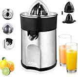 Aicok Aluminum electric citrus juicer with non-drip spout and 2 interchangeable cones for orange, lemon, lime juice 85 W Silver