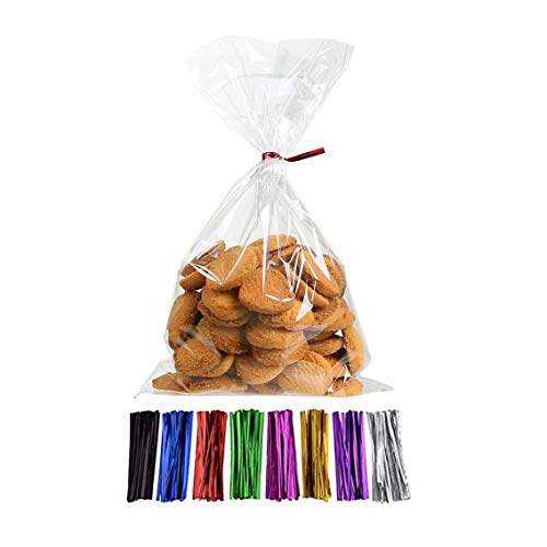 Laojbaba Cellophane Treat Bags Clear Candy Bags (6' x 10') with Twist Ties 5 Mix Colors, Candy Bread Chocolate Jelly Bags, Bakery Bags (100 pcs)
