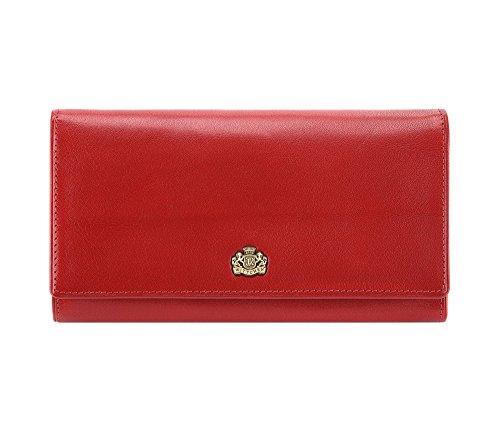 Wittchen Geldbörse   9.5x18.5 cm   Narbenleder, rot   Handmade, Kollektion: Arizona - 10-1-075-3