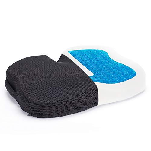 Cojin Gel Asiento Ortopédico de Espuma de Memoria, TravelEase Cojin Coxis para Dolor de Espalda y Alivio de Dolor de Hueso de la Cola Sciático, Usado para Silla de Oficina, Silla de Rueda (Negro)