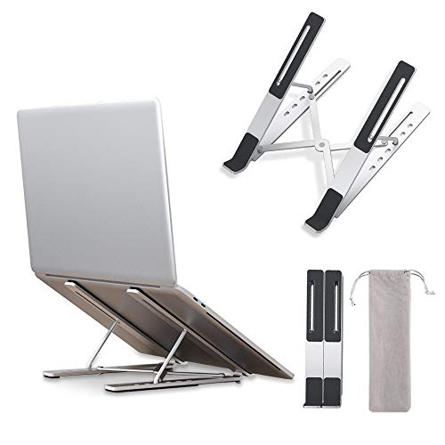 """LLANO Laptop Stand, Adjustable Ergonomic Aluminum Non-Slip Computer Riser for Desk, Suitable for 10-15.6""""inch PC Notebook, MacBook Pro Air/Surface/Lenovo/Dell, Foldable Laptop Holder with Storage Bag"""