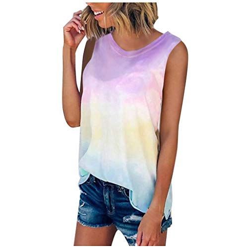 mjhGcfj Plus Size Tie Dye Tank Top Womens Gradient Loose Fit Trendy Summer Sleeveless Tops for Women Casual Tunic Over Size Pink
