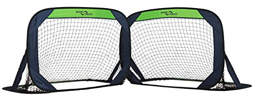 Sport Squad Portable Soccer Goal Net Set - Set of Two 4' Pop Up Training Soccer Goals with Compact Carrying Case - Easy Assembly and Compact Storage - Great for Kids and Adults