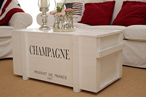 Uncle Joe´s Truhe Champagne Couchtisch Truhentisch im Vintage Shabby chic Style aus Massiv-Holz in Weiss mit Stauraum und Deckel Holzkiste Beistelltisch Landhaus Wohnzimmertisch Holztisch weiß - 3