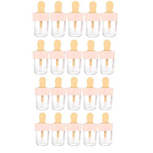 Aodow 20 Pièces 5ml / 0,2 oz Adorable Rose crème glacée en Forme de Vide Clair Lip Gloss Conteneurs pour échantillons Rouge à lèvres, Clair Rechargeables Baume à lèvres Bouteilles, DIY cosmétiques