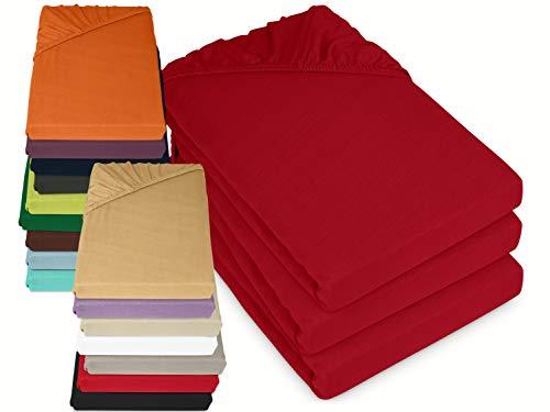 laken24 3er-Pack zum Knaller-Preis! Klassische Jersey Spannbetttücher - erhältlich in 16 modernen Farben, 70 x 140 cm, rot