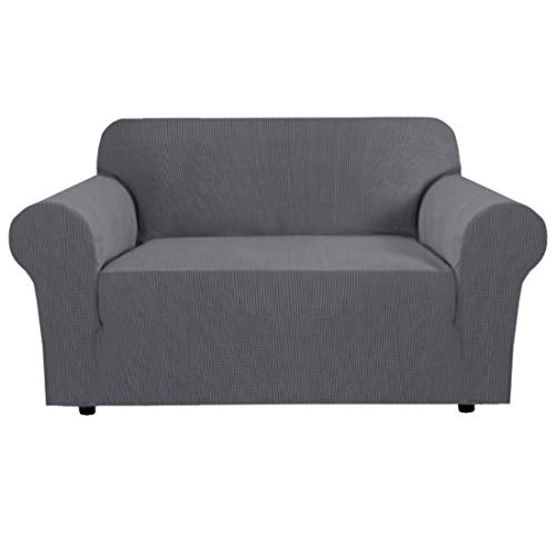 BellaHills Steel Grey Loveseat Cover 1-Piece Spandex Sofa Cover Stretch Furniture Slip Covers for Sofa and Loveseat, Anti-Slip Foams, Machine Washable Loveseat Covers for Living Room, 2 Seater