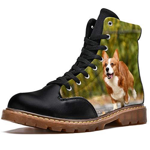 BENNIGIRY Pet Dog Corgi Running In The Yard Botas de Invierno Zapatos clásicos de Lona de caña Alta para Mujer
