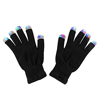 Black Knit Gloves LED Strobe Fingertips with 3 Colors for Light Shows Raves Concerts Disco Festival Party Favors  1 Pair