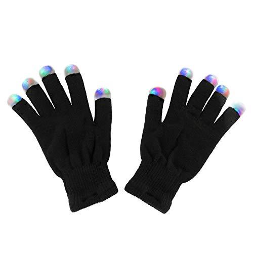 Black Knit Gloves LED Strobe Fingertips with 3 Colors for Light Shows,...