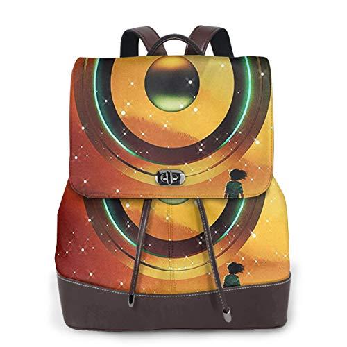 SGSKJ Rucksack Damen Futuristisches Fantasy Gaming, Leder Rucksack Damen 13 Inch Laptop Rucksack Frauen Leder Schultasche Casual Daypack Schulrucksäcke Tasche Schulranzen