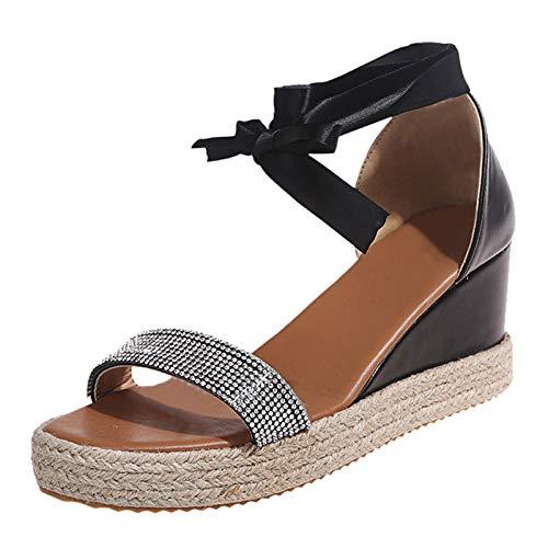 sandalo chiuso donna sandali bambina estive sandali bassi sandali donna pelle vera sandali donna chiusi davanti scarp pantofol donna estiv (13C-Black,39.5)