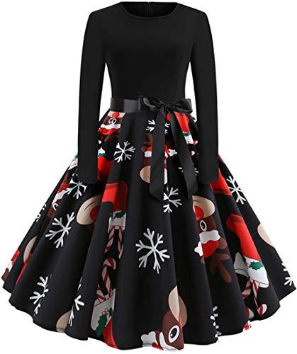 EUDOLAH Christmas Vestidos de la Vendimia de la Impresión Cuello Redondo Manga Larga del Navidad Vestidos de Fiesta Vestir Skirt Falda de Las Mujeres (Medias navideñas -118,S(Busto:84cm)