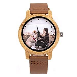 Personalized Customized Wooden Watch for Men Ori Engraved Photo Natural Wood Watches with Adjustable Wristband for Birthday Anniversary Present for Husband Dad Son or Boyfriend