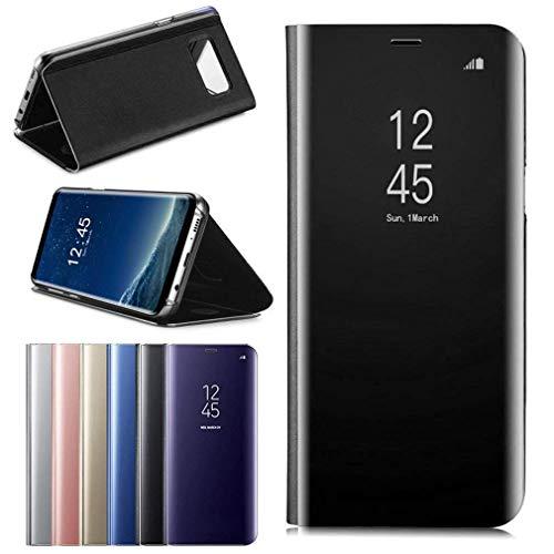 Aursen Custodia per Samsung Galaxy S9 Cover PU Custodie in Pelle con Funzione Flip Mirror Case Cassa per Samsung Galaxy S9, Nero