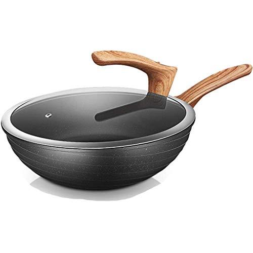 SMEJS Wok - Stir-Fry sartenes wok sartén antiadherente wok de fondo plano vertical No fumar cubierta Fogón de gas Gas