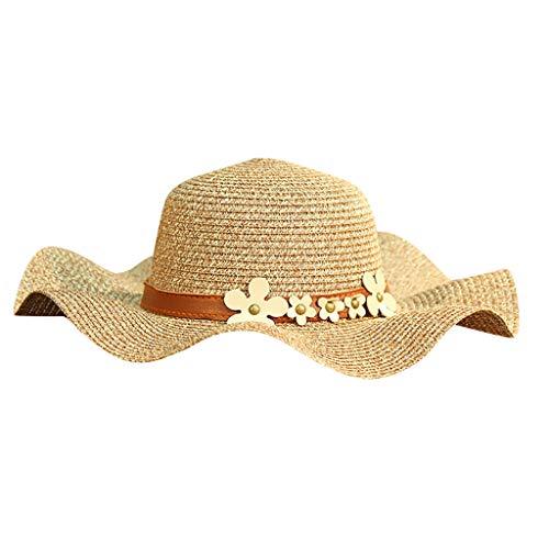iYmitz Damen Sommer Damen Strohhut Jazz Sonnenschirm Panama Trilby Fedora Hut Gangster Cap Sonnenschutz Elegant Blumen Strandhut(Kaffee,One size)