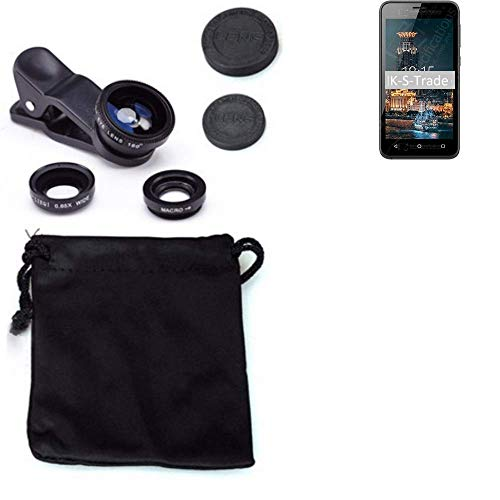 K-S-Trade® 3in1 para BQ Mobile BQ-4501G Fox Easy Obiettivo Lente 180° Fisheye, Gran Angular 0.67x, Macro Amplicación len Negro