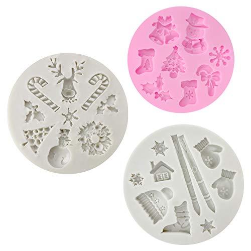 CNYMANY 3 Stücke Fondant Silikonformen, 25 Hohlraum 3D Weihnachten Zuckerfertigkeit Kuchen Dekoration Cupcake Topper Handwerk Projekte Gum Paste Harz Polymer Clay Form