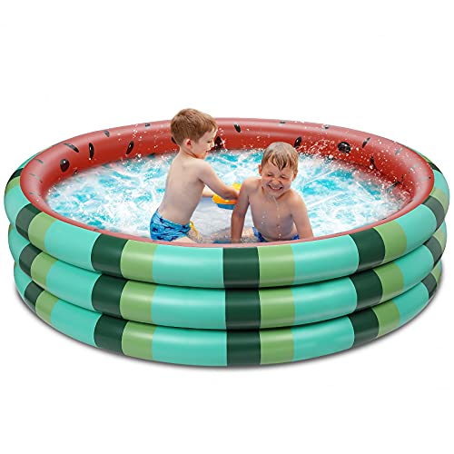 Inflatable Kiddie Pool, 3 Rings Kids Swimming Pools Summer Watermelon Baby Toddlers Paddling Pool for Backyard Garden Kids and Adults Ball Pit Pool Indoor&Outdoor Party Water Pool Fun (49''x12'')