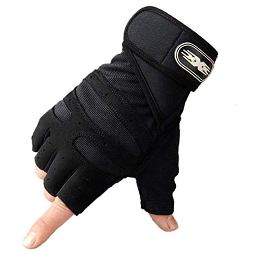 Y-YUNLONG Men Women Workout Fitness Half Finger Gloves Non-Slip Gym Bodybuilding Mittens