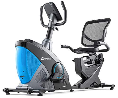 Hop-Sport Vélo d'appartement HS-070L Helix Semi-Allongé, Masse d'inertie 18,5 kg, Siège réglable avec Dossier, Ordinateur Multifonctionnel, roulettes de Transport (Gris/Bleu)