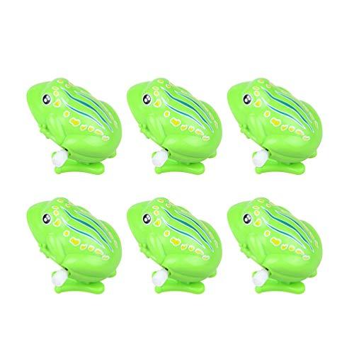 Toyvian 6 Piezas de Ranas Verdes de Cuerda Ranas Saltarinas Juguetes Divertidos Juguetes Clásicos de Plástico para Niños