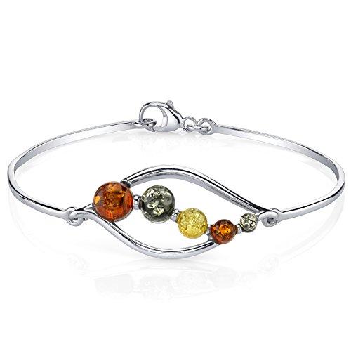 Baltic Amber Open Leaf Bangle Bracelet Sterling Silver Multi Colors