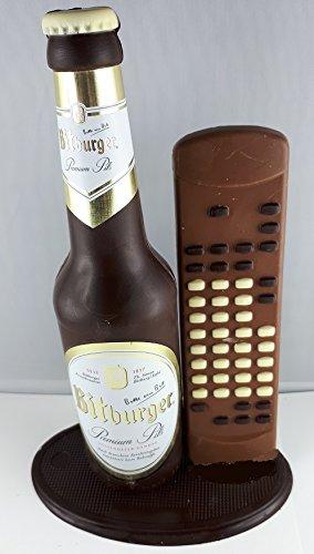 04#022621 Schokolade, Bierflasche, in ORIGINAL Größe, mit Fernbedienung, Bitburger Bier, Bierflasche aus Schokolade, Schokoladenbierflasche, echte Etiketten