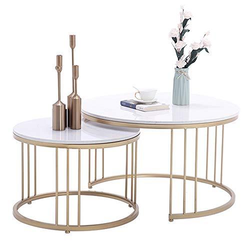 YNN Tisch Satztische, 2er-Set Beistelltisch, runder Couchtisch Marmor Snack Telefon Beistelltisch Wohnzimmer Schlafzimmer