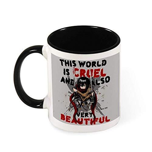 N\A Taza de cerámica Cruel y Hermoso Ataque Mundial En Titán Taza del té, Regalo para Las Mujeres, Las niñas, Esposa, mamá, la Abuela, 11 oz
