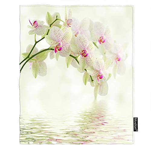 Moslion Floral Throw Blanket Elegant Orchid Flower Blossom in Water Garden Plant Petal Spring Blanket Home Decorative Flannel Warm Travel Blankets 50x60 Inch for Couch Bed Green Pink