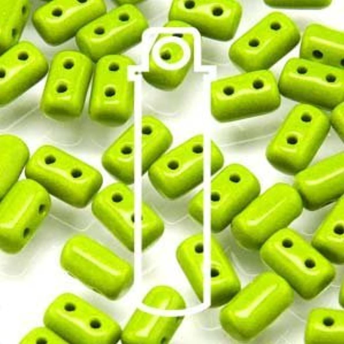 Opaque Green 3x5mm Rulla Glass Beads (2 Hole)