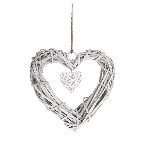 Wicker Heart Wreath Wedding Birthday Party Wall Hanging Decoration