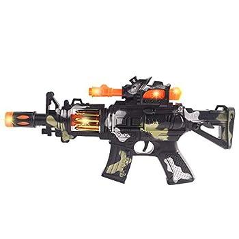Anstoy Electric Toy Machine Gun Flash Vibration Sound and Light Music Gun M4 Submachine Gun–Perfect Pretend Play Toy for Boys & Girls Cosplay