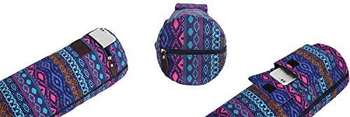 ヨガマットバッグ,Boence完全なジップの運動ヨガマット頑丈なキャンバスとスリングバッグ,スムースジッパー,調節可能なストラップ,大容量のストレージポケット-ほとんどのサイズのマットに合う(ブルーダイヤモンド)