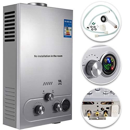VEVOR Scaldabagno A Gas Liquefatto Scaldabagno A Gas 18L LPG Con Digitale LCD 36KW Scaldabagno Automatico E Rapidamente