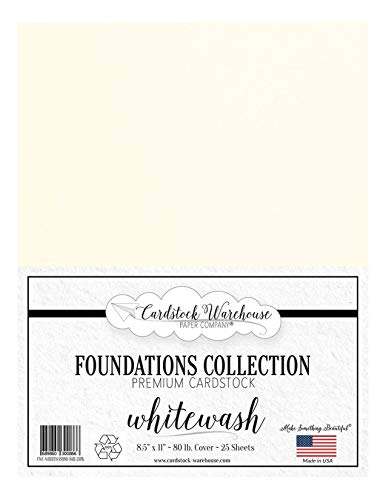Whitewash White 100% Recycled Cardstock Paper - 8.5 x 11 inch PREMIUM 80 LB. COVER - 25 Sheets from Cardstock Warehouse