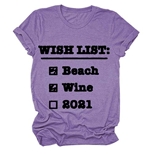 LXHcool Lista de la Playa del Vino de la Vendimia 2021 2021 Divertido Regalo de la Camiseta (Color : Purple, Size : S)