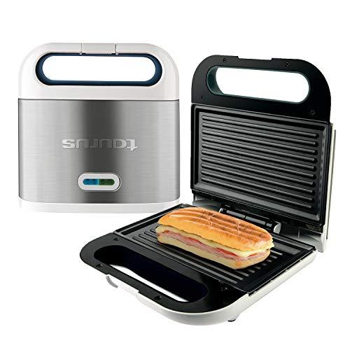 Taurus Sandwichera Phoenix Luxe, Grill, Resultados crujientes, Placas antiadherentes 21.5x12.5 cm, indicador Luminoso de Temperatura, Toque frío, fácil Limpieza, INOX