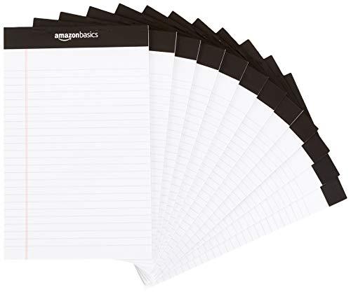 Amazon Basics Narrow Ruled 5 x 8-Inch Writing Pad - White (50 Sheet Paper Pads, 12 pack)
