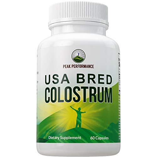 Colostrum Capsules Bred from Clean, Safe, USA Farms by Peak Performance. Best Colostrum Supplement 960mg Bioactive Pills. Gut and Immune Health, Leaky Gut Syndrome, Intestinal Lining Support Tablets