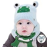 FOLDING ハット 帽子 少年少女かわいいと快適な冬の赤ん坊の幼児の帽子のためのソフトで暖かいニットベビー帽子 キャップ (Color : Light blue)