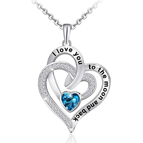 Distance I Love You to The Moon and Back Necklace 925 Sterling Silver Heart Necklaces for Women Dark Blue Cubic Zirconia Jewelry for Girlfriend Mother Wife Girls