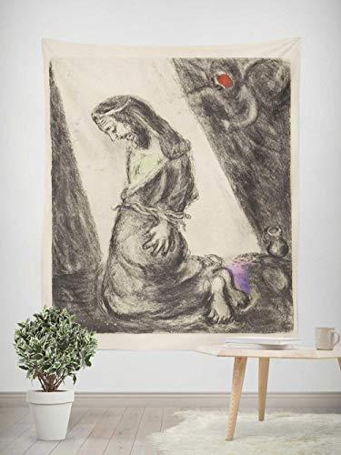Tapiz - Adornos de Arte para Pared de Hogar, Pareo/Toalla de Playa Grande, Chic Decoración Habitacion 1 pieza, 130×150cm Pintura abstracta Chagall y figuras de croquis