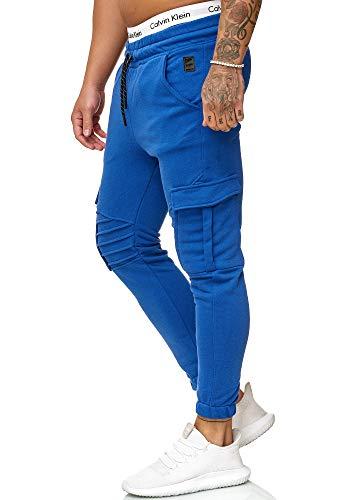 OneRedox Herren Jogging Hose Jogger Streetwear Sporthose Modell 1214 Blau M