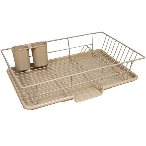 """Sweet Home Collection 3 Piece Dish Drainer Rack Set with Drying Board and Utensil Holder, 12"""" x 19"""" x 5"""", Taupe"""
