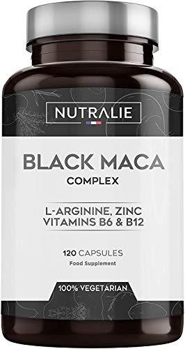 Maca Schwarz aus Peru entspricht 24.000 mg für jede Dosis von 1200 mg mit L-Arginin, Zink, Vitaminen | 120 Pflanzliche Kapseln mit hochkonzentriertem Maca-Extrakt 20:1 | Nutralie